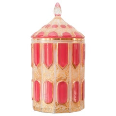 Antique Moser Art Deco Glass Canister with Pink Cabochon Panels and Lid