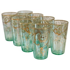Antique Moser Gold Gilded Green Tea Glasses