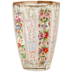 Antique Moser Hand Painted and Gilt Vase