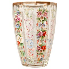 Antique Moser Multicolored Hand Painted Floral and Gilt Vase