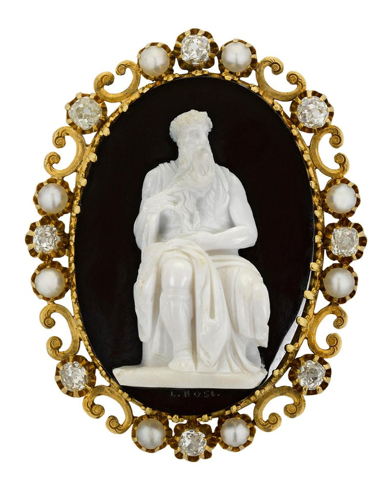 Victorian Antique Moses Cameo Brooch For Sale
