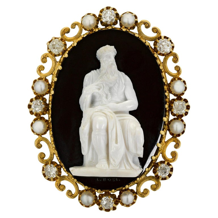 Antique Moses Cameo Brooch For Sale