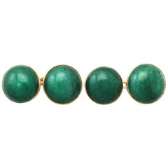 Antique Moss Agate and Yellow Gold Cufflinks
