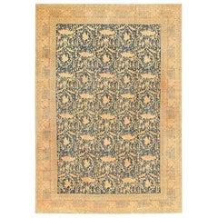 Antique Mostofi Design Blue Persian Tabriz Rug