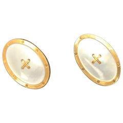Antique Mother-of-Pearl and 18 Karat Yellow Gold Double Sided Cufflinks