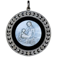 Antique Mother-of-Pearl Cameo Onyx Platinum Pendant