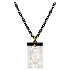 Antique Mother of Pearl Gambling Chip, Gold/Blackened Silver Pendant Necklace