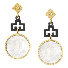 Antique Mother-of-Pearl Gaming Counter 18k Gold, Blackened Silver Drop Earrings