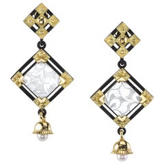 Antique Mother-of-Pearl Gaming Chip, Yellow Gold & Silver Square Dangle Earrings