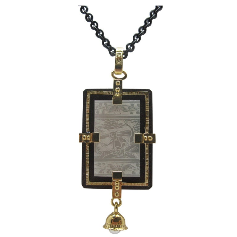 205f41675fc988 Antique Mother of Pearl Gaming Counter Pendant 18k Gold, Silver and Steel For  Sale