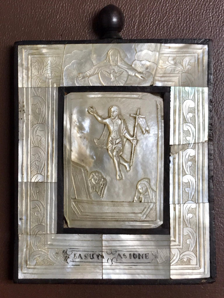 European Antique Mother of Pearl Icon