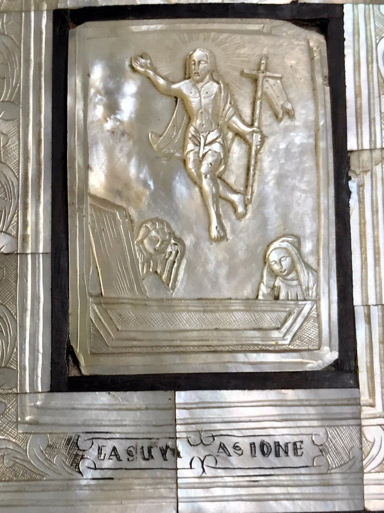 Hand-Carved Antique Mother of Pearl Icon