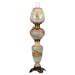 Antique Mount Washington Embossed Floral GWW Oil Lamp, c1890