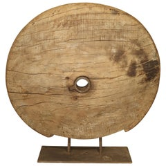 Antique Mounted Wooden Work Wheel from India