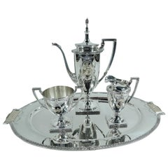 Antique Mt Vernon Pompeiian Sterling Silver 3-Piece Coffee Set on Tray