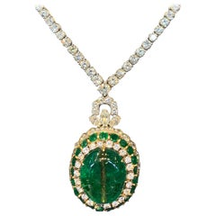 Antique Mughal Certified Emerald Bead and Diamond Necklace