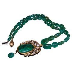 Antique Mughal India Emerald Diamond Ruby Enamel Gold Necklace