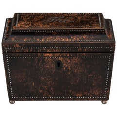 Antique Mulberry Cut Steel Tea Caddy, 19th Century