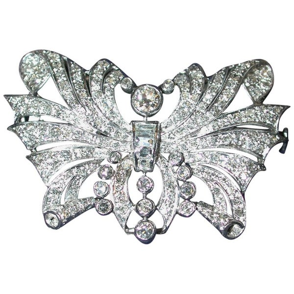 Antique Multi Diamond Butterfly Brooch Mounted in Platinum, Dated circa 1910