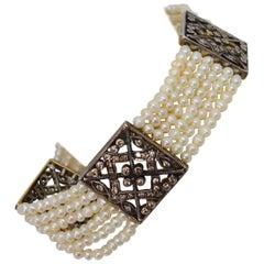Antique Multi Strand Pearl Diamond 18 Karat White Gold Filigree Bracelet