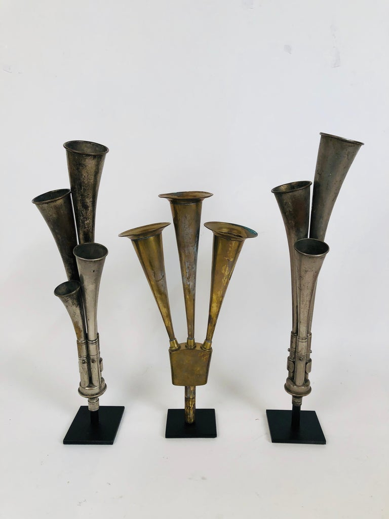 American Classical Antique Multi Tone Car Horn Collection with Custom Made Stands For Sale