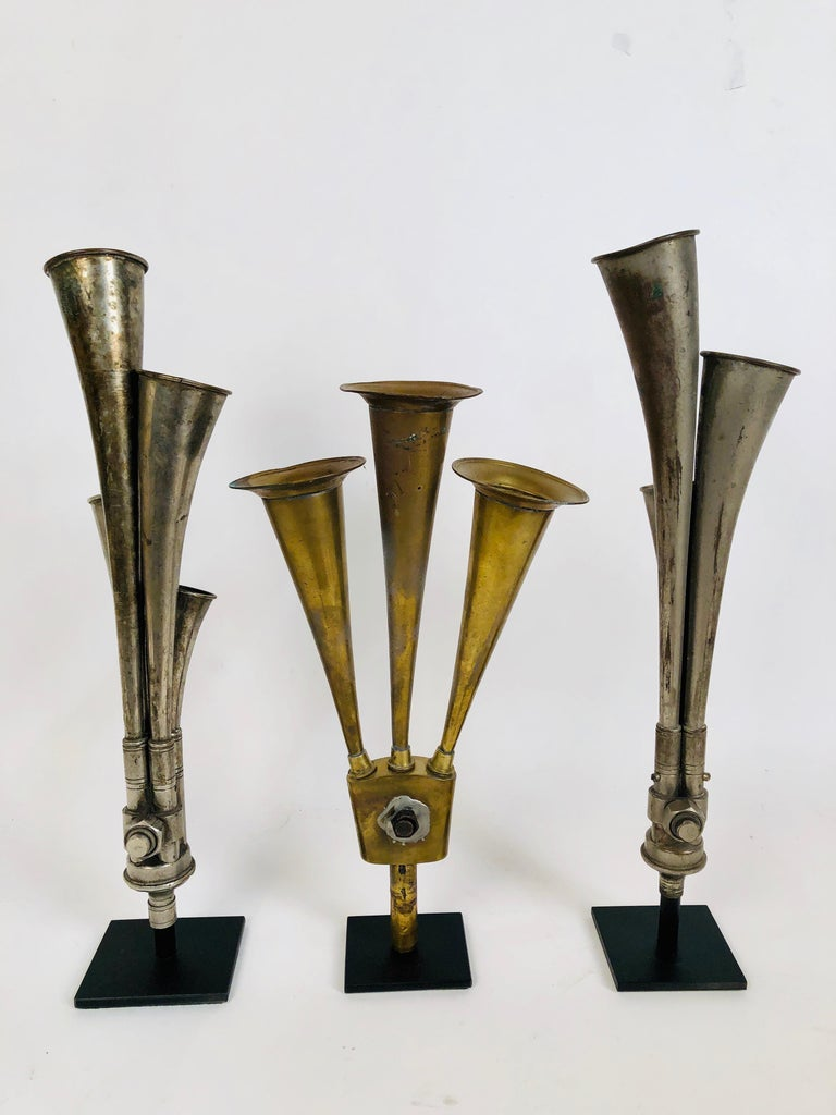 North American Antique Multi Tone Car Horn Collection with Custom Made Stands For Sale