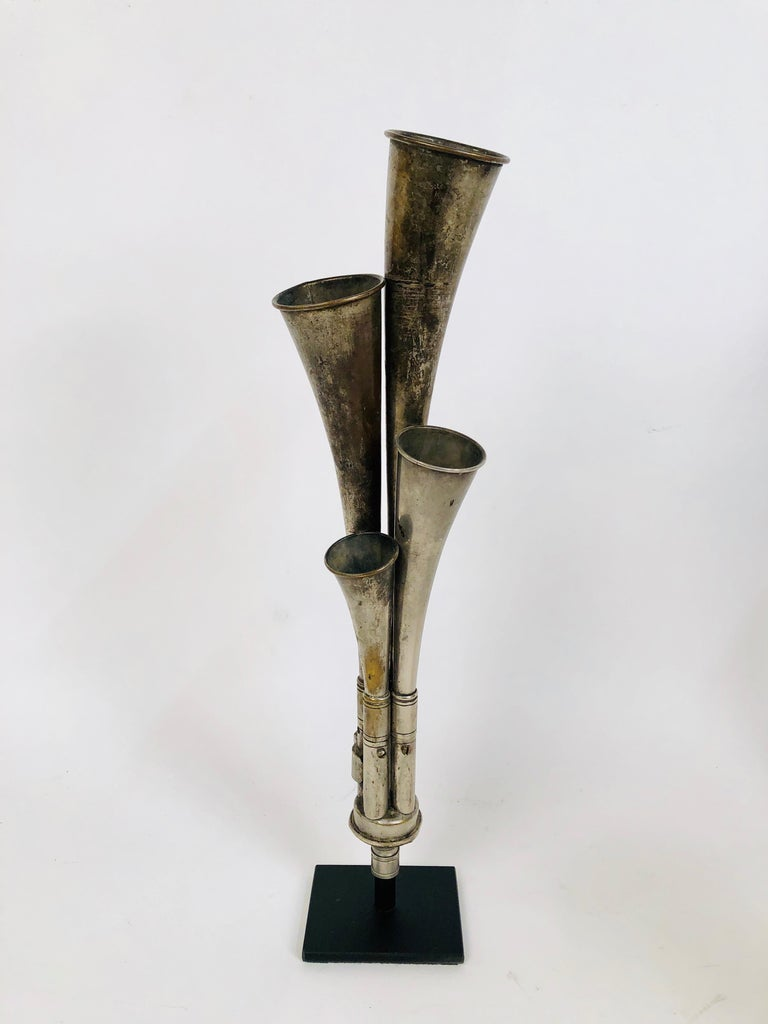 Early 20th Century Antique Multi Tone Car Horn Collection with Custom Made Stands For Sale