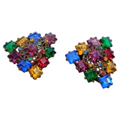 Antique Multicolor Glass Dress Clips 1930s