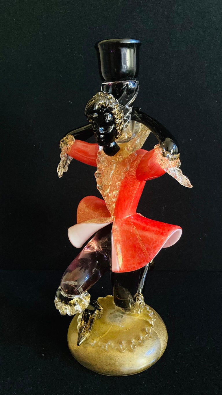 Other Antique Murano Glass Courtesan with Gold Leaf For Sale