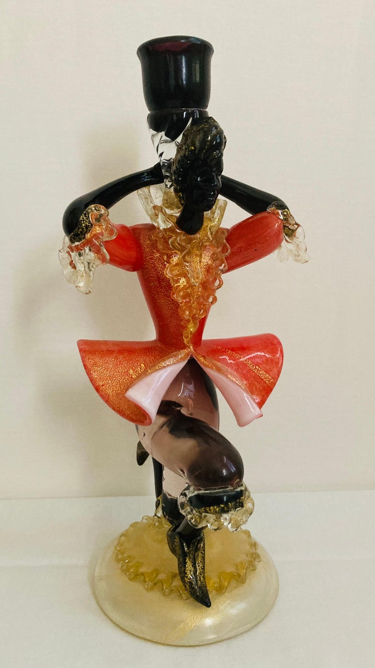 Antique Murano Glass Courtesan with Gold Leaf In Excellent Condition For Sale In Grantham, GB
