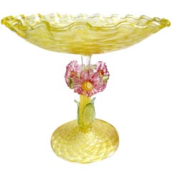 Antique Murano Venetian Gold Flecks Yellow Quilted Applied Flowers Italian Bowl