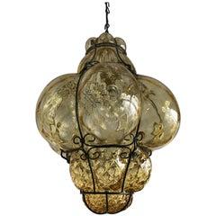 Antique Murano Venetian Mouthblown Amber Glass in Metal Frame Pendant Light