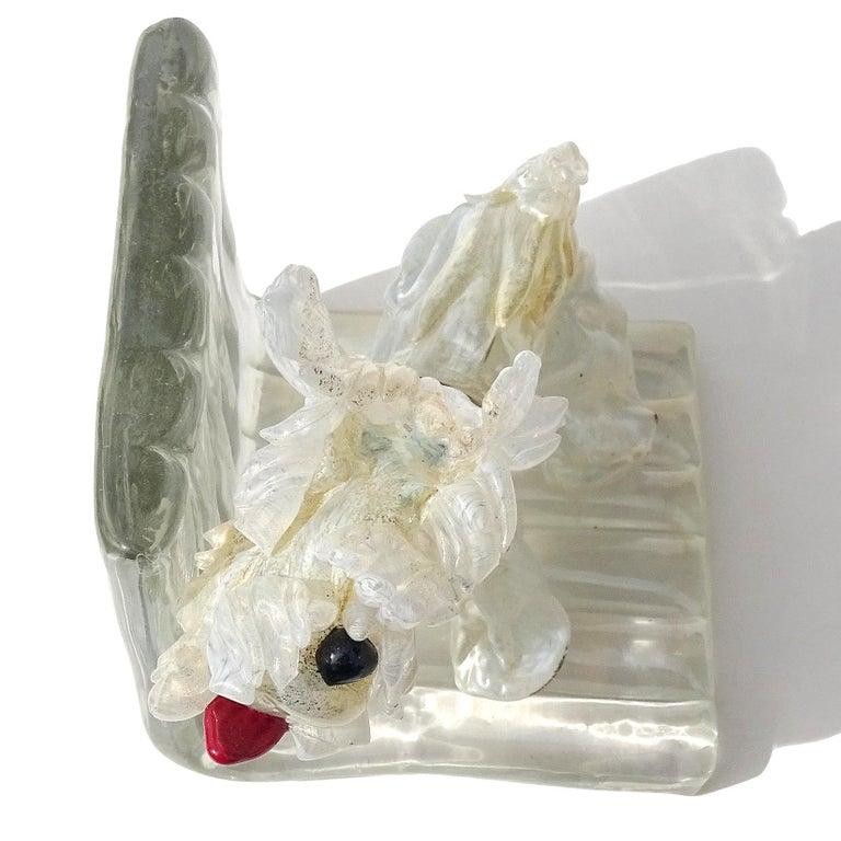 20th Century Antique Murano White Gold Flecks Italian Art Deco Scotty Dog Figure Bookend For Sale