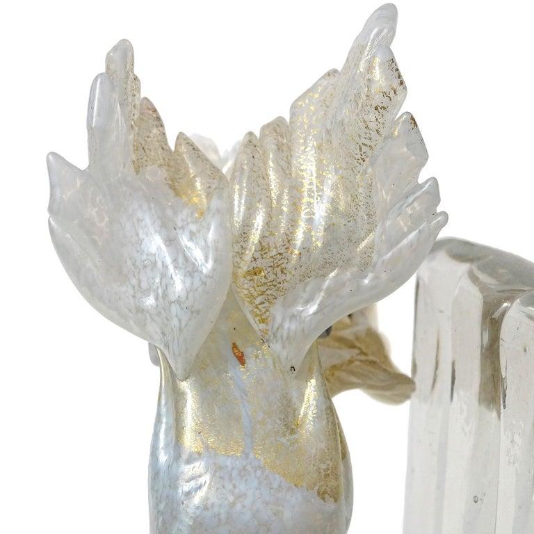 Antique Murano White Gold Flecks Italian Art Deco Scotty Dog Figure Bookend For Sale 1