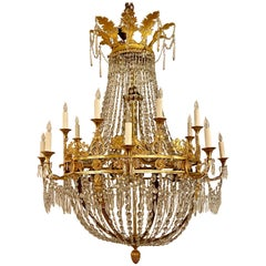 Antique Museum Quality Empire Bronze D'ore and Crystal Chandelier