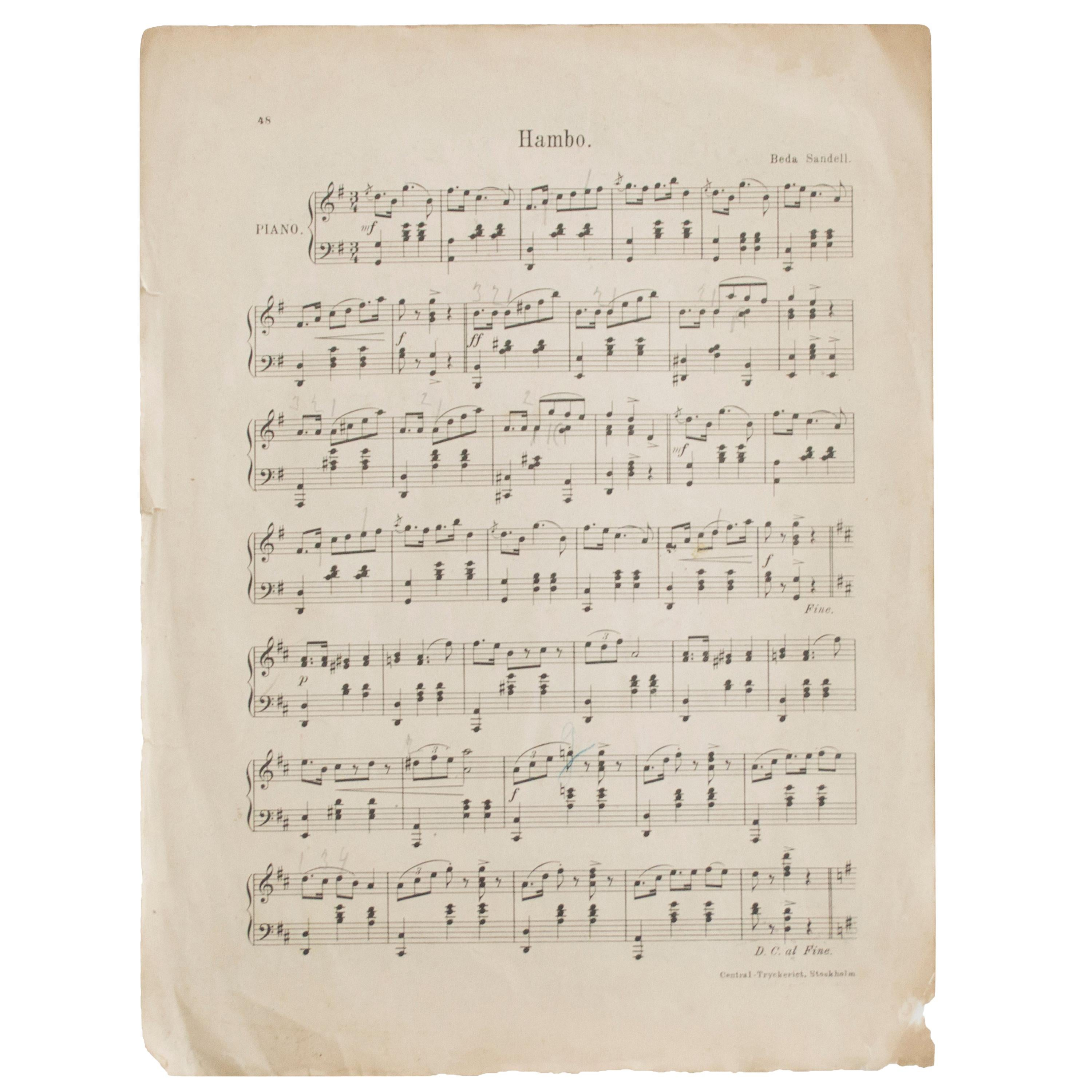 Antique Musical Notes from Sweden, Late 1800s