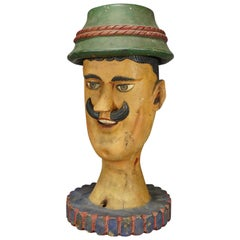 Antique Naive Woodcarving Sculpture of a Folksy Bavarian Man