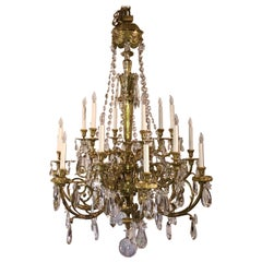 Antique Napoleon III Fine Crystal and Ormolu Chandelier