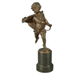 Antique Napoleon III French Classical Bronze Sculpture of Skater, Signed