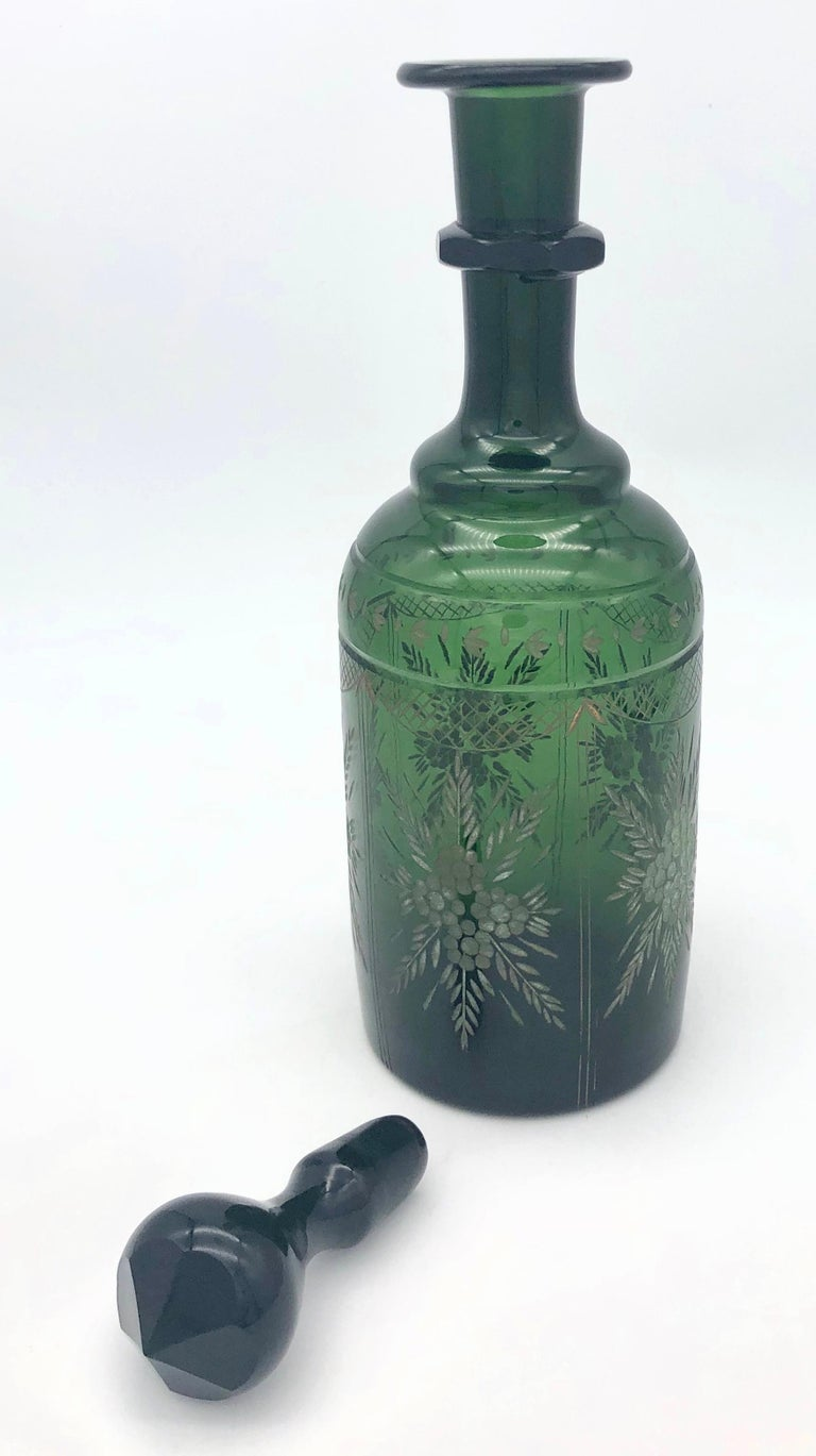 Mid-19th Century Antique Napoleon III French Green Carved Glass Decanter For Sale
