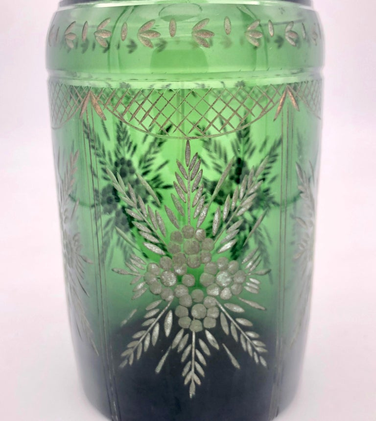 Antique Napoleon III French Green Carved Glass Decanter For Sale 2