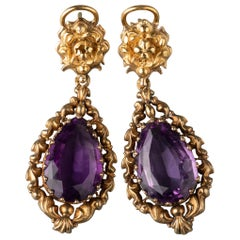 Antique Napoléon III Gold and Amethysts Earrings