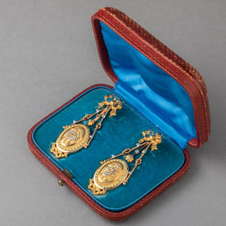 Antique Napoleon III Gold Earrings In Good Condition For Sale In Saint-Ouen, FR