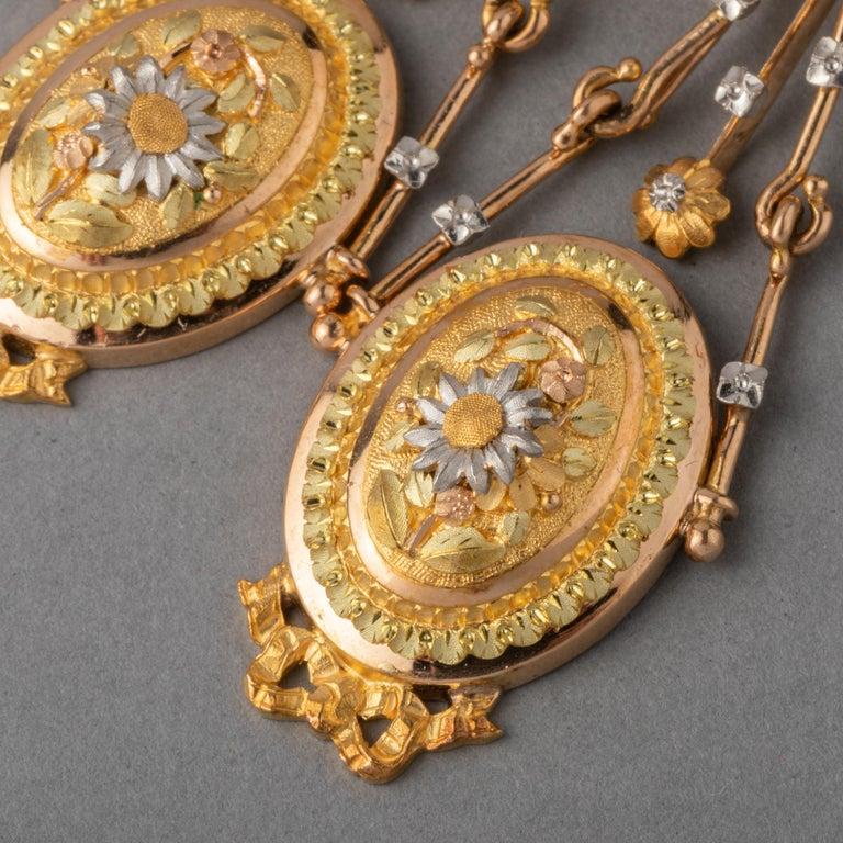 Antique Napoleon III Gold Earrings For Sale 1