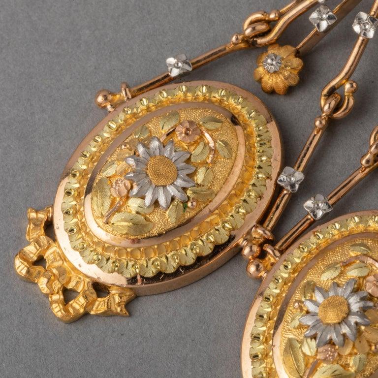 Antique Napoleon III Gold Earrings For Sale 2