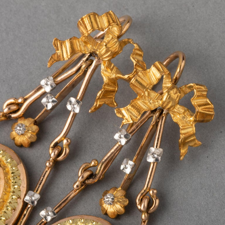 Antique Napoleon III Gold Earrings For Sale 3