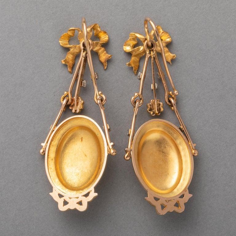 Antique Napoleon III Gold Earrings For Sale 4