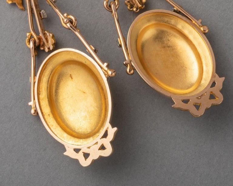 Antique Napoleon III Gold Earrings For Sale 5