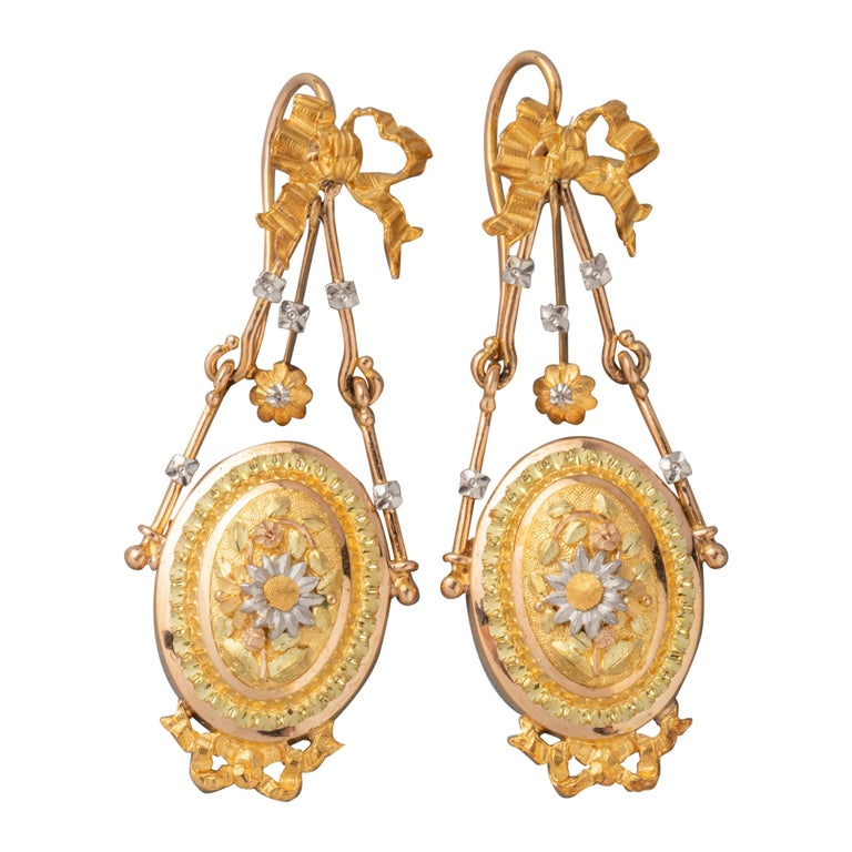Antique Napoleon III Gold Earrings For Sale