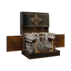 Antique Napoleon III Liquor Cellar, French, Liqueur Box, Glass Decanters, 1830